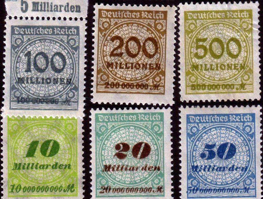 Postage stamps of Weimar Germany, hyperinflation of the early 1920s (Wikimedia Commons)